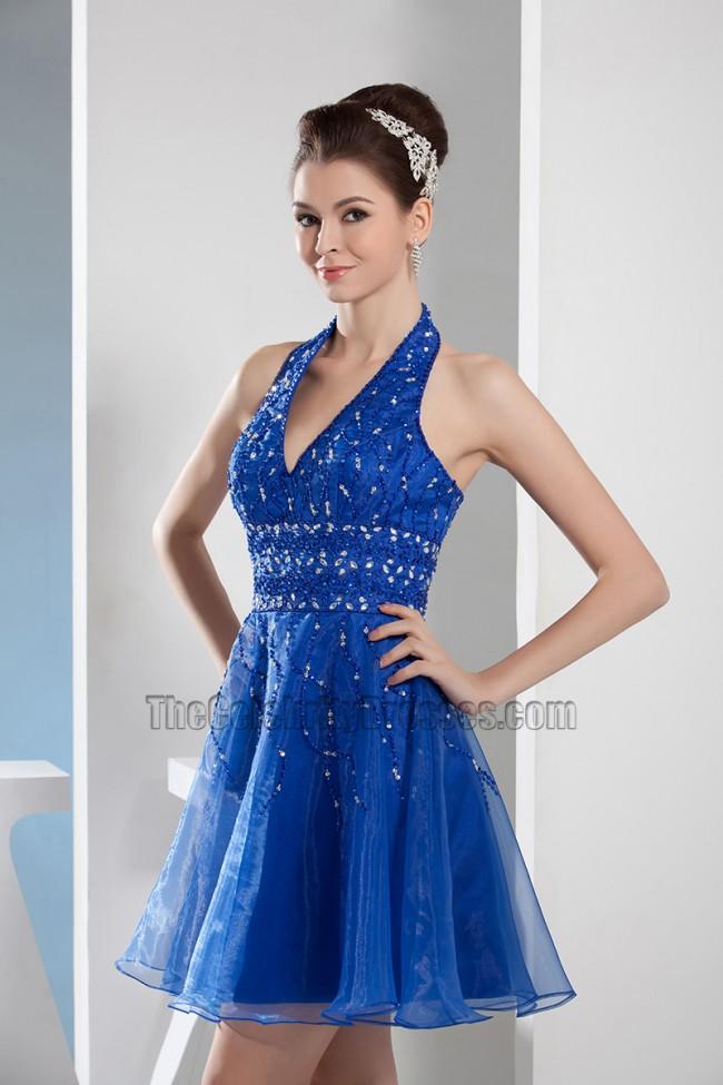 Short Royal Blue Halter Graduation Cocktail Party Dresses With