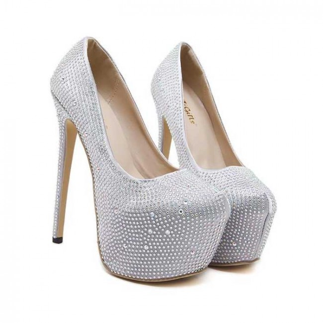 Silver Pump Round Toe Diamond Wedding Shoes Closed Stiletto Heels For Prom