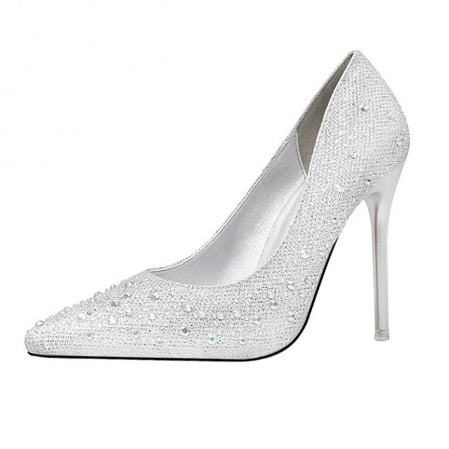 best service sneakers separation shoes Silver Rhinestone Stiletto Heels Wedding Pointed Toe Shoes ...