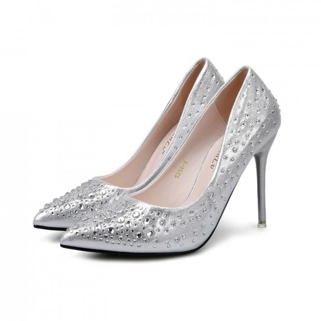 Wedding Silver Heels: Silver Rhinestones Pointed Toe Stiletto Heels Wedding