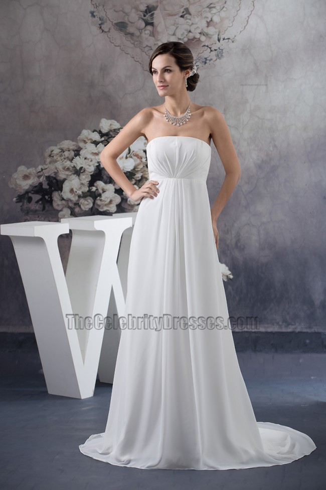 Simple strapless a line chiffon informal wedding dresses for Free wedding dress catalog