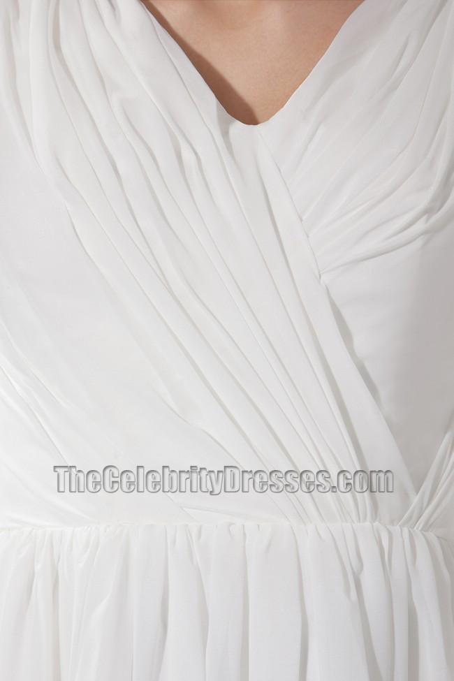 c586b34c332fa4 Simple White V-neck A-Line Cocktail Dress Bridesmaid Dresses ...