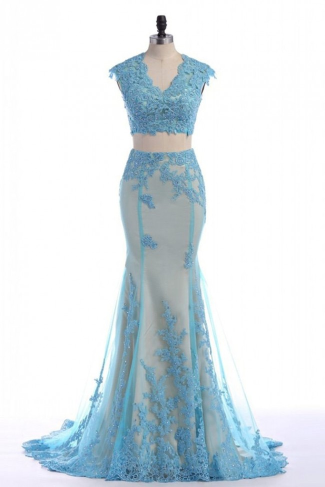 ba42a8cfdc47 Sky Blue Two Pieces Mermaid Applique Prom Dress - TheCelebrityDresses
