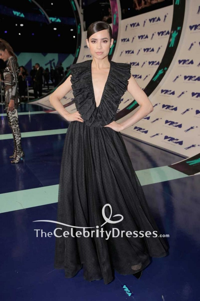 Sofia Carson Black Backless Halter Ball Gown Dress 2017