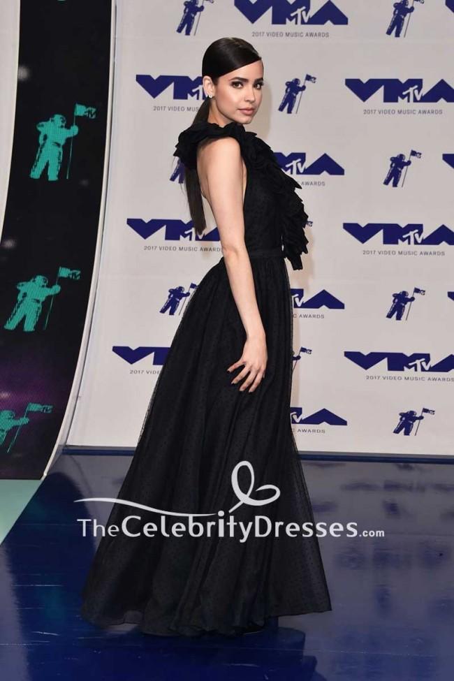 sofia carson black backless halter ball gown dress 2017