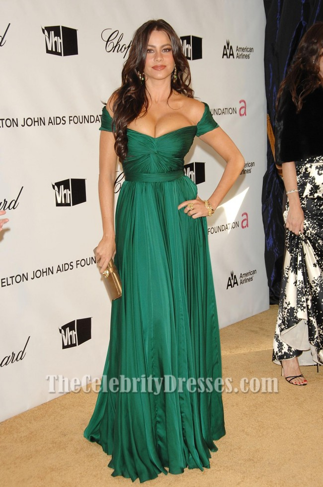 Sofia Vergara Green Evening Dress Oscar Awards 2008 After