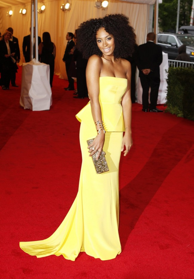 Solange Knowles Yellow Evening Dress Met Ball 2012 Red