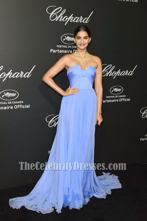 Sonam Kapoor Lavender Evening Prom Dress Chopard Backstage