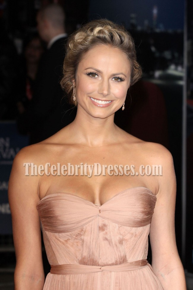 Stacy Keibler Gorgeous Sweetheart Strapless Evening Gown Formal Dress Red Carpet Celebrity