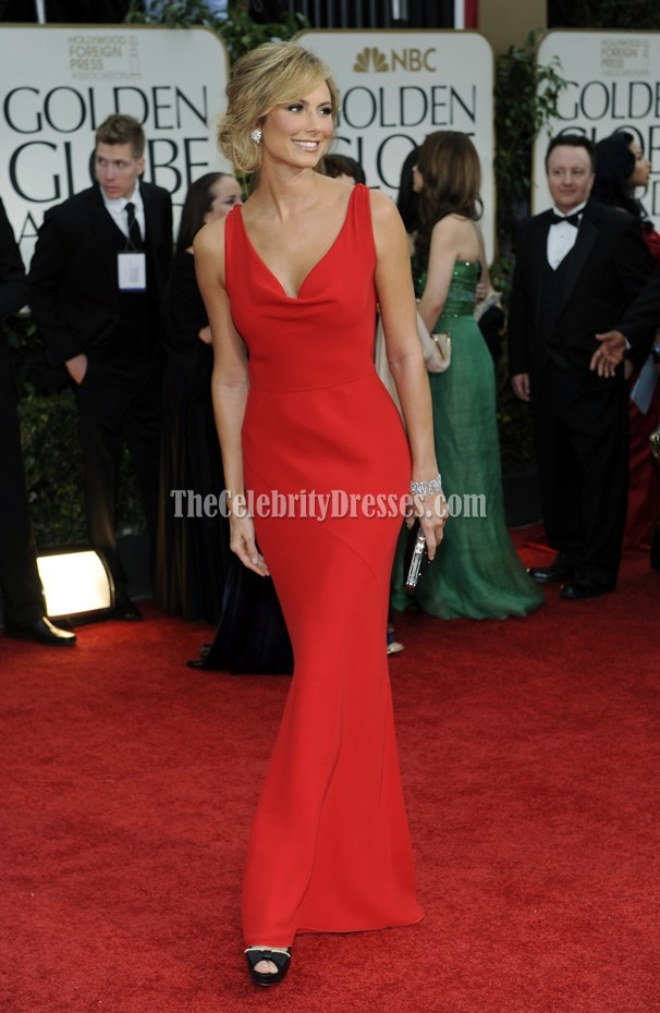 stacy keibler red prom evening gown 2012 golden globes red