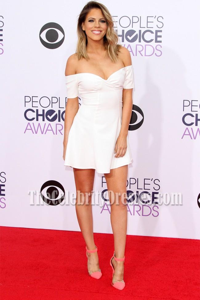 7b10a35e9fac Stephanie Bauer White Off-the-Shoulder Mini Dress 2015 People s Choice  Awards