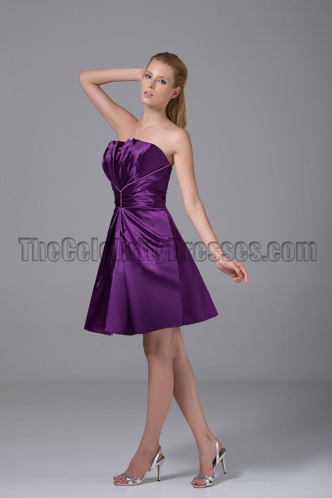 Purple Strapless Party Dresses