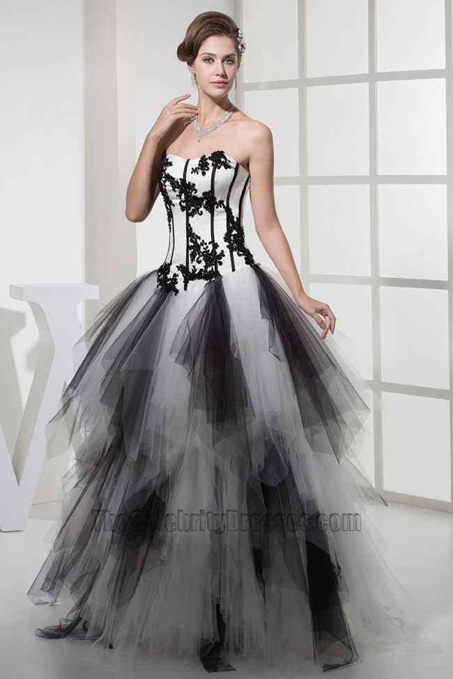 Strapless Black And White Formal Dress Evening Gown