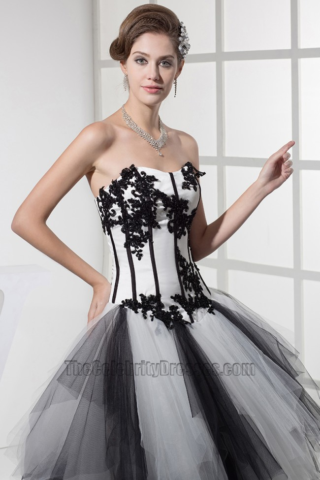 Strapless Black And White Formal Dress Evening Gown ... e4bb289f6