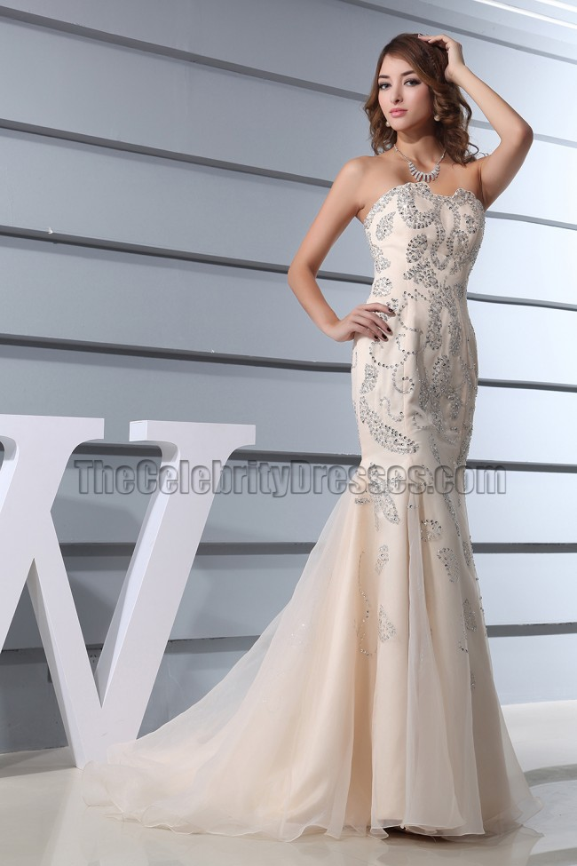 Sequined Mermaid Champagne Formal Dresses Prom Gown ...