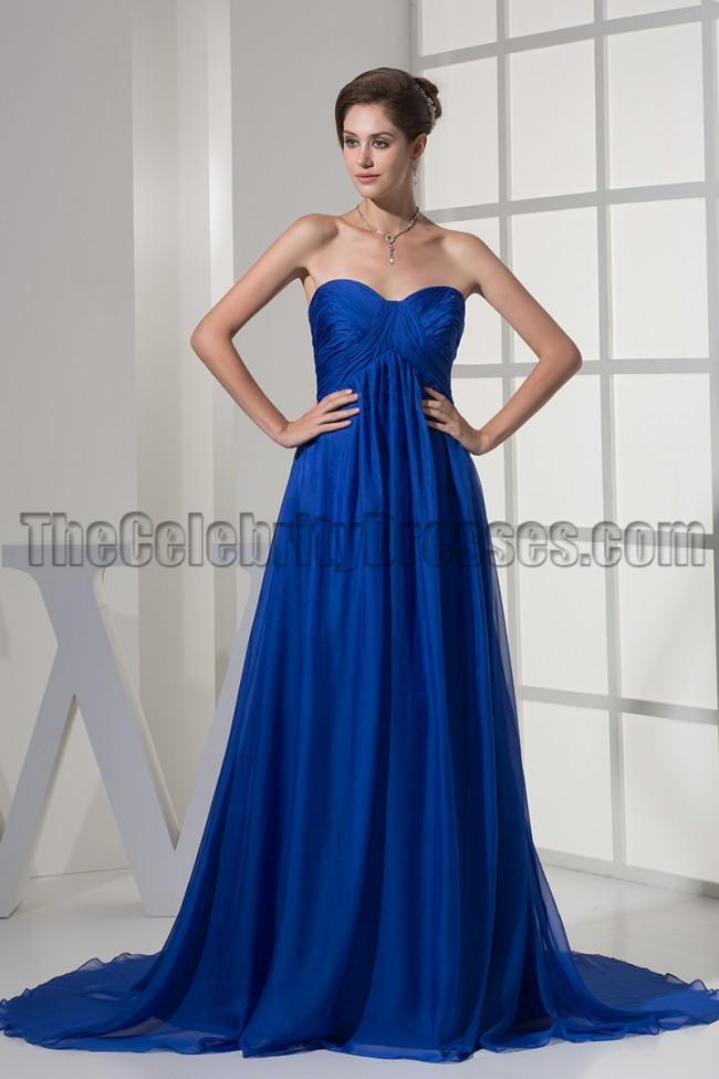 Strapless Royal Blue A Line Chiffon Formal Dress Evening