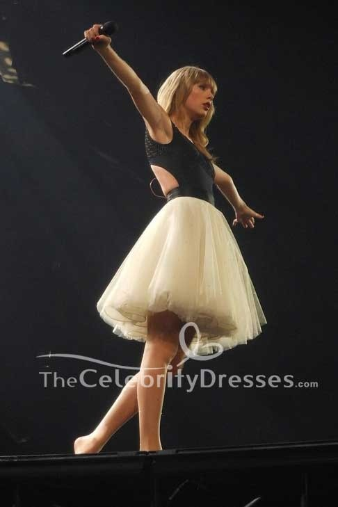 Taylor Swift Black And Ivory Cut Out Fit And Flare Short