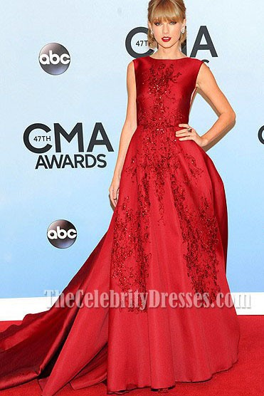 Taylor swift red formal dress cma awards 2013 red carpet thecelebritydresses - Dresses from the red carpet ...