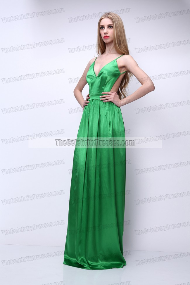 Celebrity Inspired Green Backless Prom Gown Evening Dress