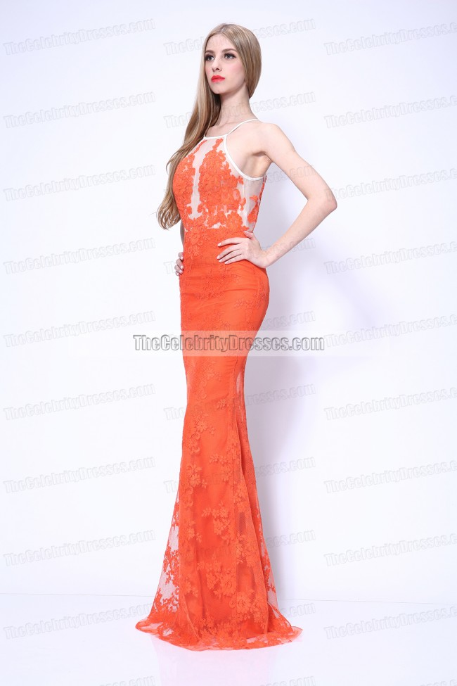 4dc896375201 Giuliana Rancic Orange Lace Formal Dress 2014 Grammy Red Carpet ...