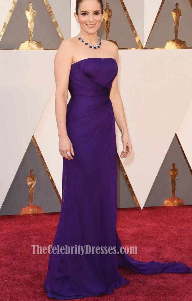 Tina Fey Oscars 2016 Red Carpet Strapless Fashion Purple Evening ...