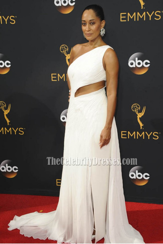 Tracee Ellis Ross White One Shoulder Chiffon Evening Dress