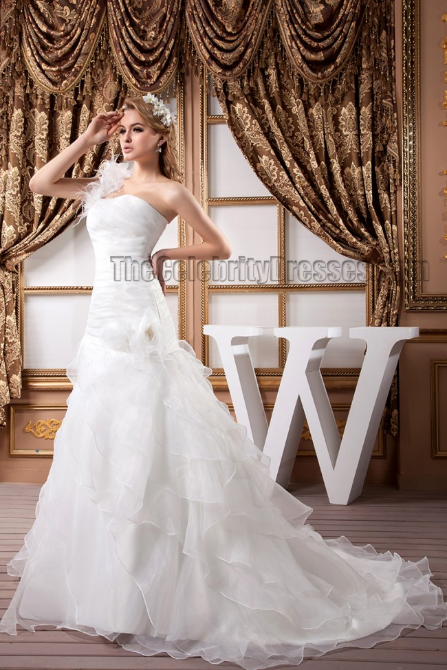 Trumpet mermaid one shoulder organza wedding dresses for Organza trumpet wedding dress