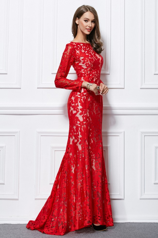 Long Lace Half-Sleeved Formal Dress-PromGirl |Formal Lace Dress With Sleeves