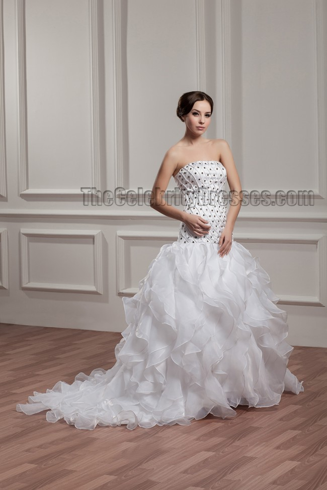 Trumpet mermaid strapless beaded sweep brush train for Sweep train wedding dress