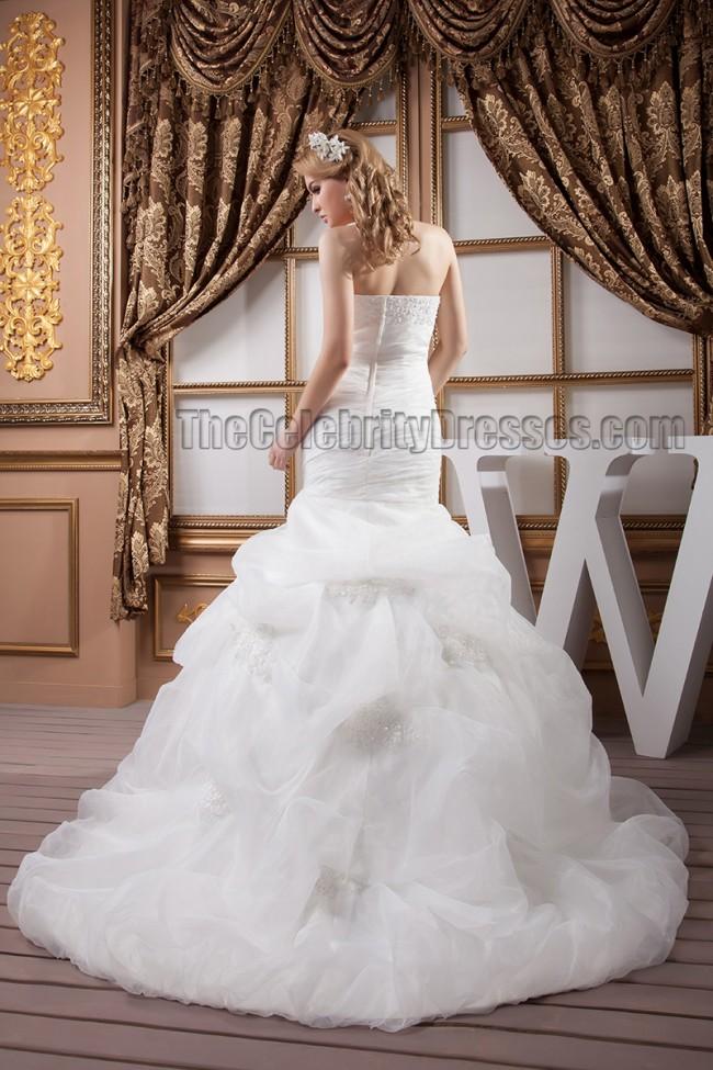 Mermaid Wedding Dress With Chapel Train : Trumpet mermaid strapless beaded chapel train wedding dresses