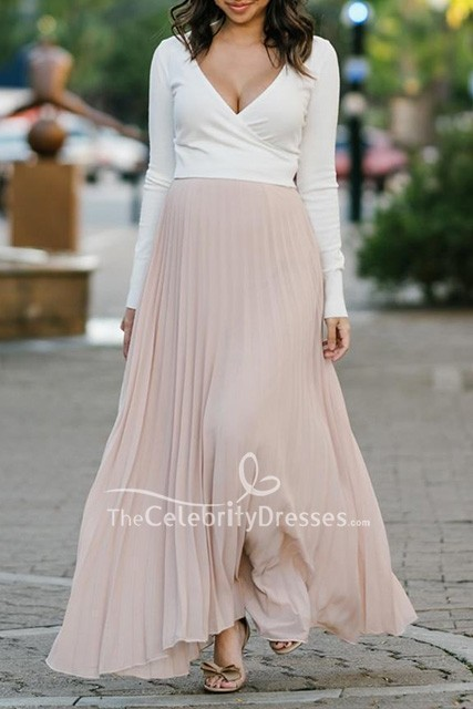 Two Tone Pleated Deep V Neck Long Sleeves Maxi Maternity Dress Thecelebritydresses