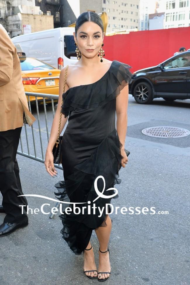 Vanessa Hudgens Black One Shoulder Ruffled Party Dress The Iceman