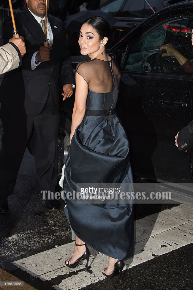 Vanessa Hudgens 2015 Cfda Black A Line Formal Dress Evening Gown