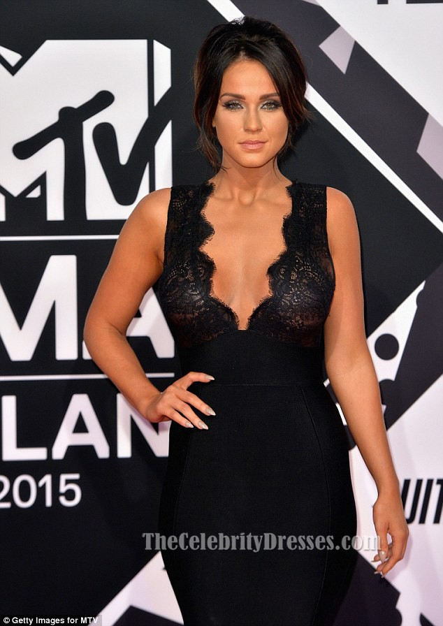 Vicky Pattison Sexy Black Evening Dress 2015 Mtv Emas Red Carpet