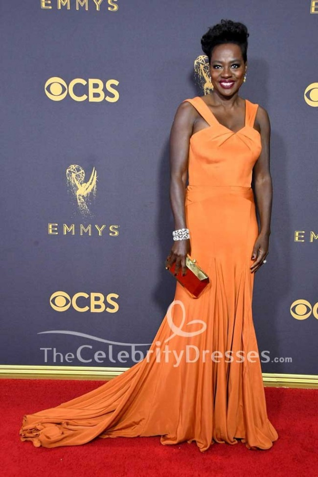 Viola Davis Orange Long Evening Dress E 2017 Emmy Awards