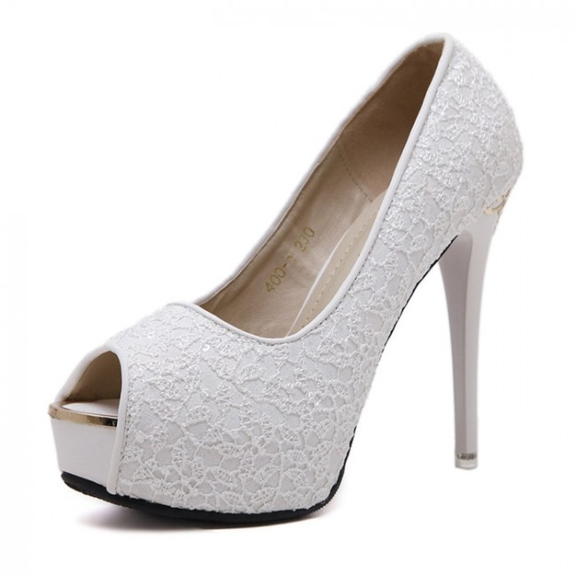 White Lace Wedding Women's Shoes Cheap Peep Toe Heels For