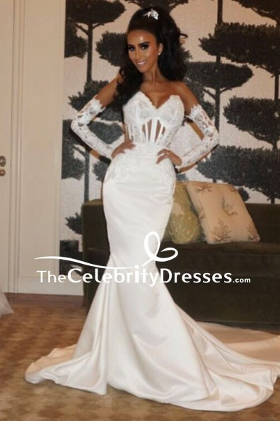3749768b69a White Strapless Mermaid Lace Wedding Dress - TheCelebrityDresses