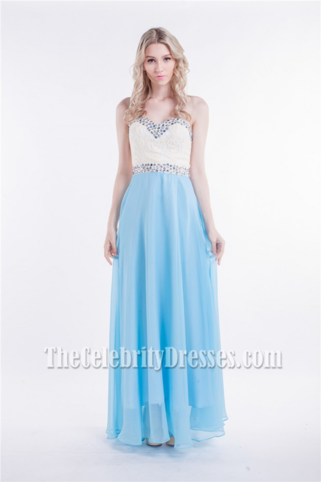 White And Blue Strapless Sweetheart Beaded Prom Dress Evening Gowns ...