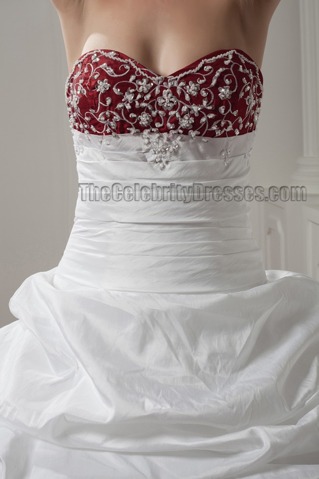 White And Burgundy Embroidered ALine Strapless Wedding Dresses