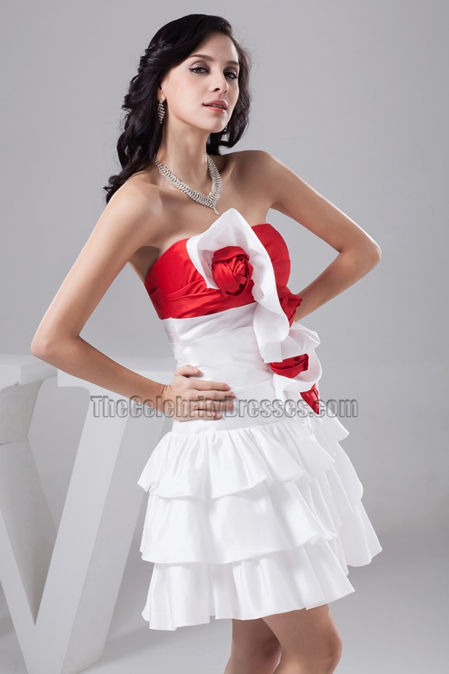 White And Red Short Strapless Party Homecoming Dresses ...