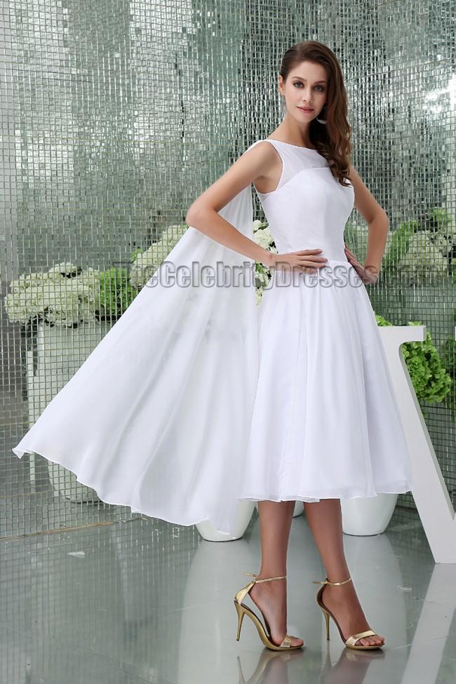 2517519e999 White Knee Length A-Line Cocktail Short Wedding Dresses -  TheCelebrityDresses