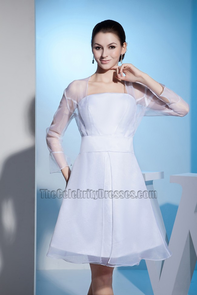 bb5df636f1a White Long Sleeve Organza Short Wedding Dress Cocktail Dresses -  TheCelebrityDresses