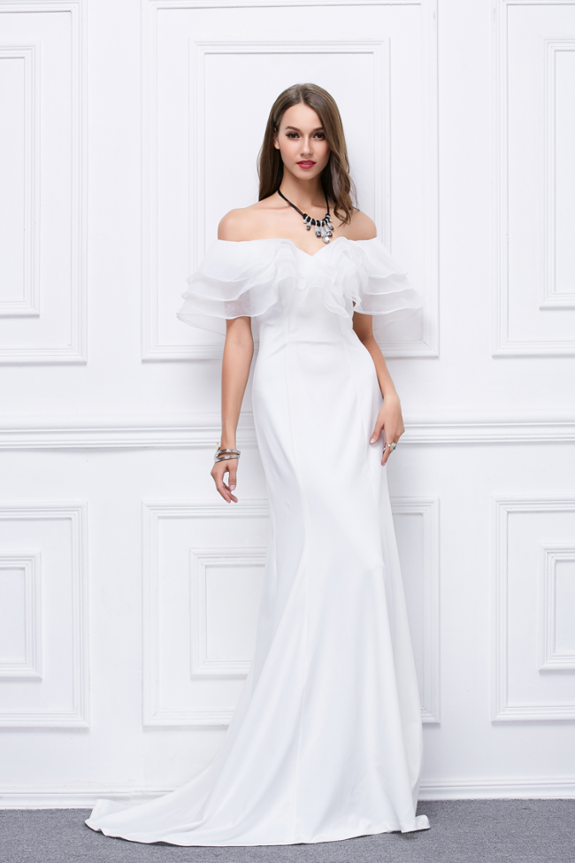 White Off The Shoulder Formal Evening Dress Prom Gown