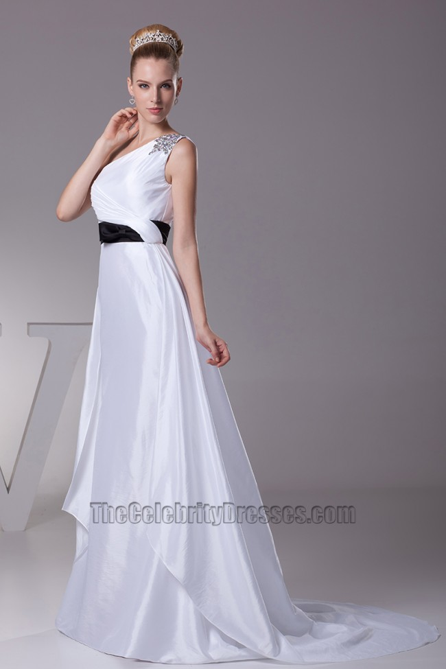 White one shoulder a line wedding dress with black belt for Wedding dress with black belt