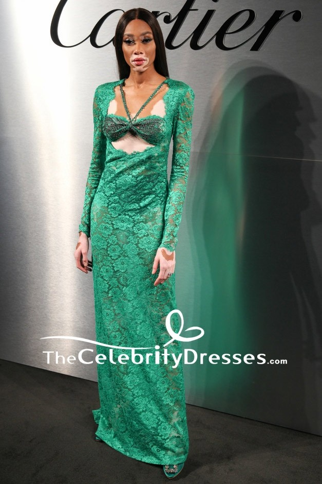 Winnie Harlow Green Lace Cut Out Formal Dress With Long Sleeves