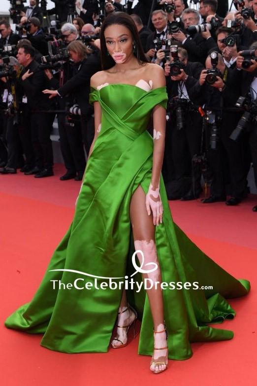 Winnie Harlow Green Off The Shoulder Evening Formal Dress