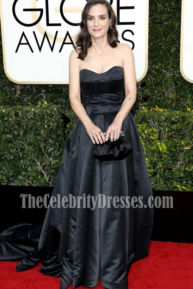 Winona Ryder Black Strapless Ball Gown Golden Globes 2017