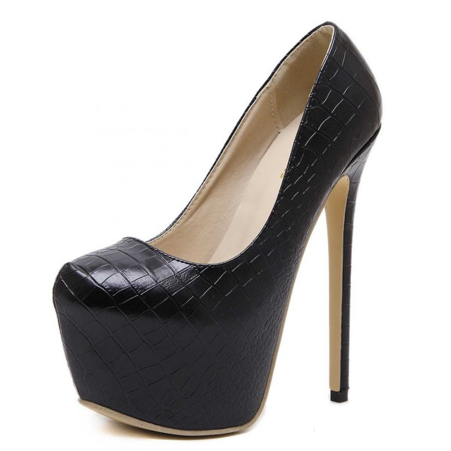 50bfd32b4d Women's Black Pump Round Toe Stiletto Heels Prom With Platform ...