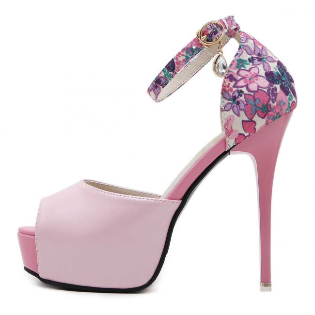 Womens Floral Fuchsia Platform Stiletto Heels Wedding Shoes With Ankle Strap