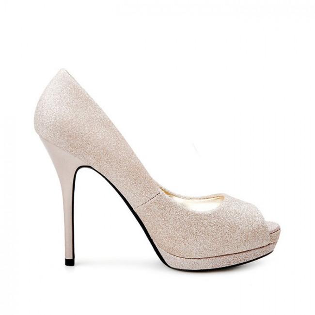 Cheap Wedding Heels: Women's Gold Wedding Stiletto Heels Cheap Prom Shoes